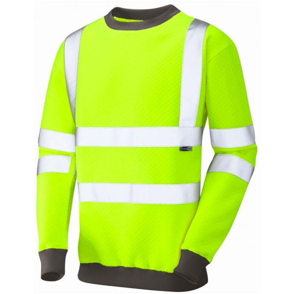 Leo Workwear SS05-Y Winkleigh Hi Vis Sweatshirt Crew Neck Yellow ISO 20471 Class 3