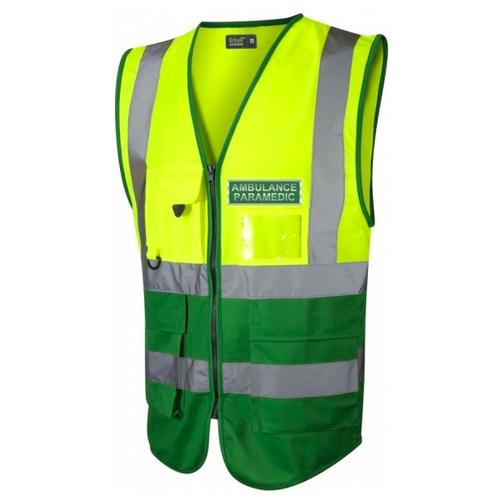 Ambulance Paramedic Hi Vis Executive Waistcoat Yellow / Emerald Green