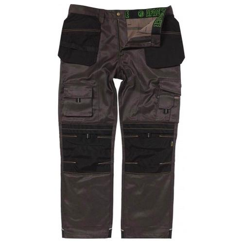 Apache Workwear Kneepad Holster Trousers Twill Grey/Black