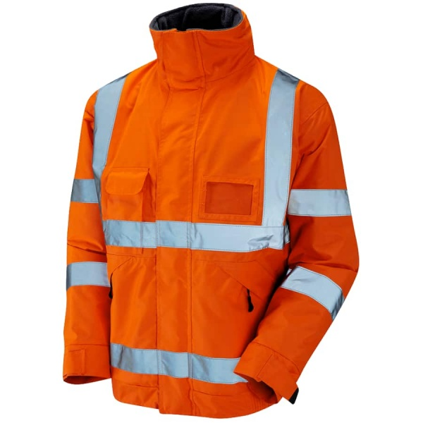 Hi Vis Railway Bomber Jacket Waterproof with Fleece Lining Orange
