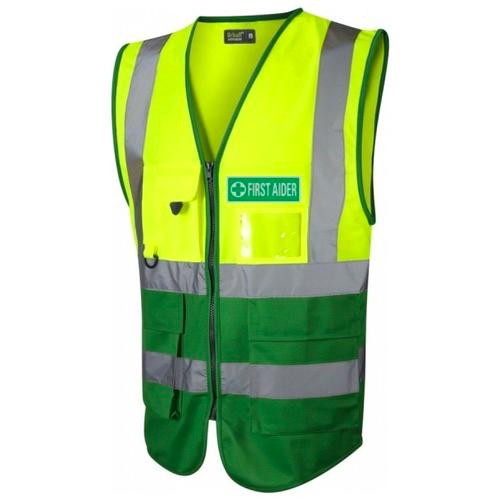 First Aider Hi Vis Executive Waistcoat Yellow / Emerald Green