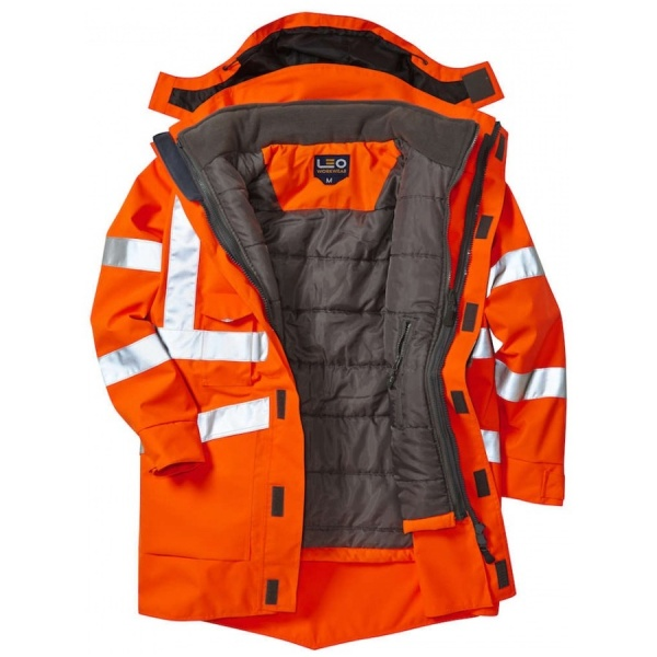 Leo Workwear A04-O/BW Clovelly 3 in 1 Hi Vis Executive Jacket Orange With Torrington Bodywarmer