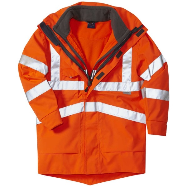 Leo Workwear A04-O/FJ 3 in 1 Clovelly Hi Vis Executive Anorak With Hartland Fleece Jacket Orange