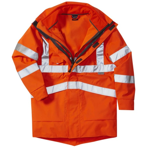 Leo Workwear A04-O/SS 3 in 1 Clovelly Hi Vis Executive Anorak With Buckland Softshell Jacket Orange