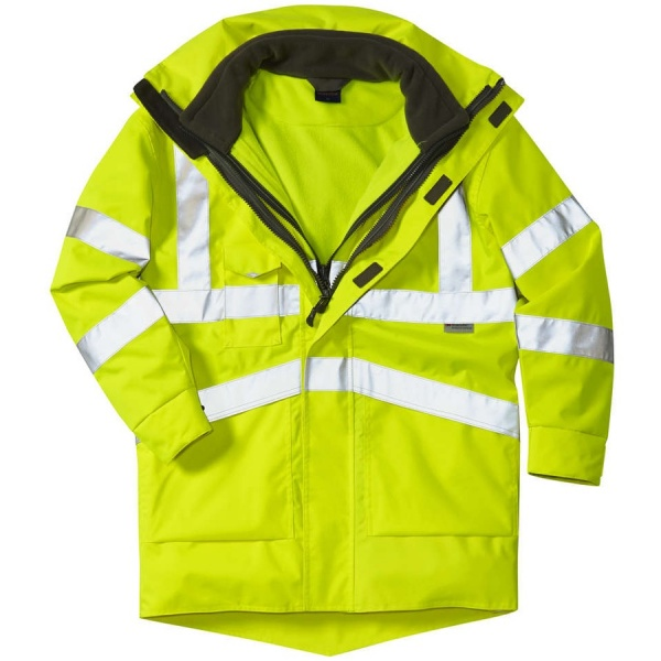 Leo Workwear A04-Y/FJ 3 in 1 Clovelly Hi Vis Executive Anorak With Hartland Fleece Jacket Yellow