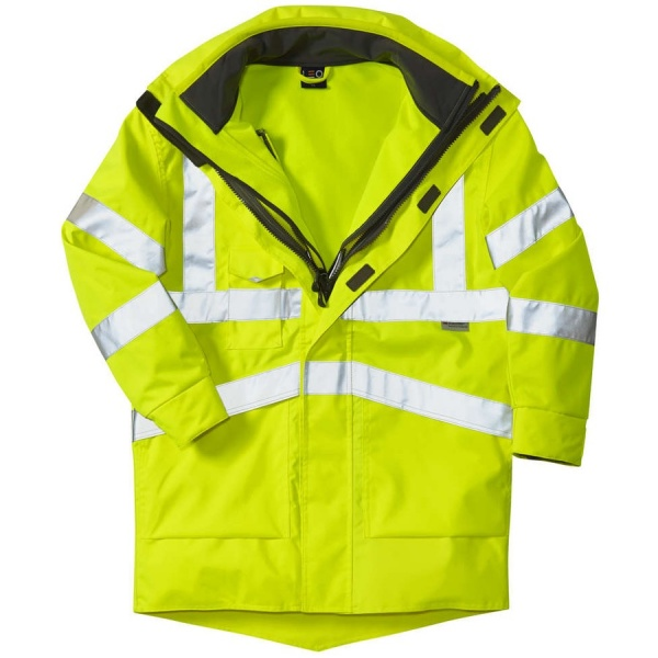 Leo Workwear A04-Y/SS 3 in 1 Clovelly Hi Vis Executive Anorak With Buckland Softshell Jacket Yellow