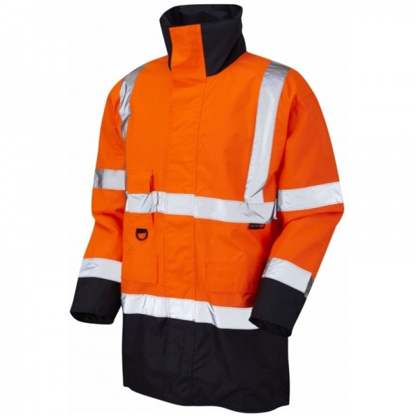Leo Workwear A01-O/NV Tawstock Hi Vis Jacket Orange / Navy