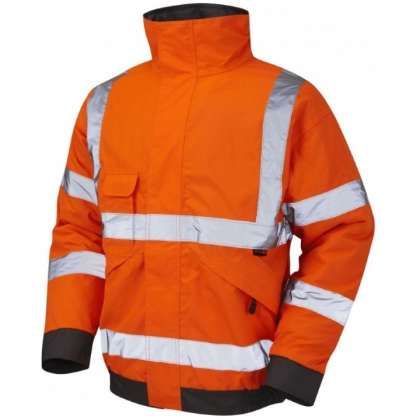 Leo Workwear J01-O Chivenor Hi Vis Railway Bomber Jacket Orange