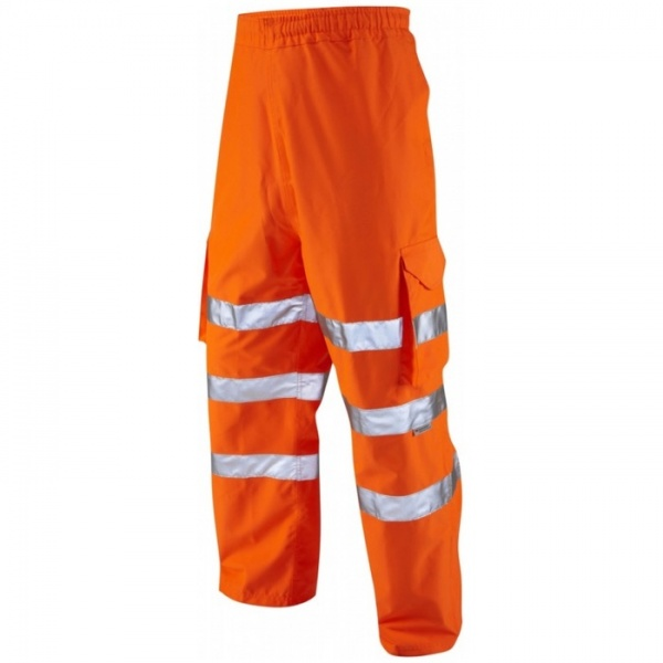 Leo Workwear L02-O Instow Hi Vis Cargo Waterproof Railway Over Trouser Orange