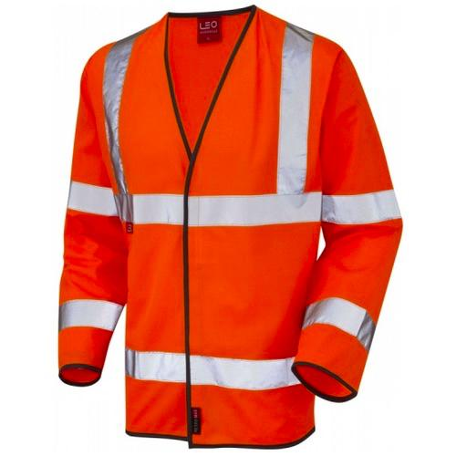 Leo Workwear S07-O Hi Vis Class 3 LFS Long Sleeve Waistcoat Orange