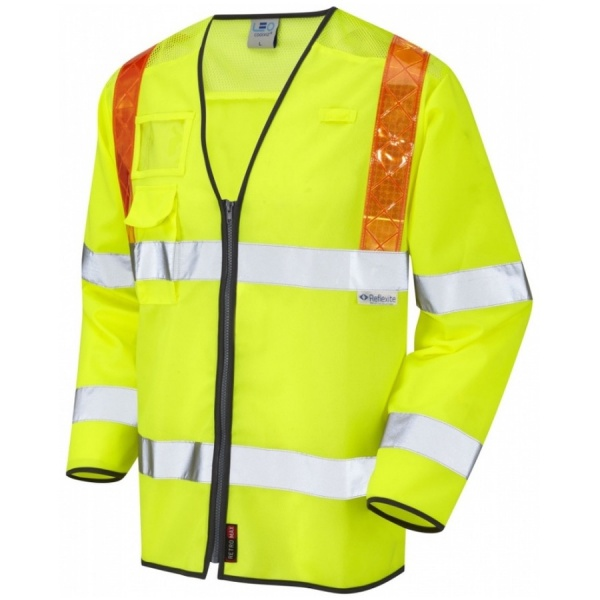 Leo Workwear S13-Y Hi Vis Class 3 Sleeved Ventilated Waistcoat Yellow / Orange Braces