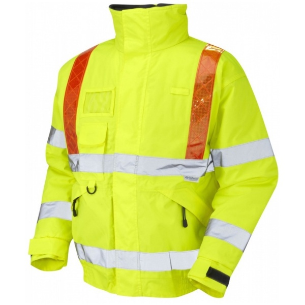 Leo Workwear J03-Y Hi Vis Class 3  Superior Bomber Jacket Yellow / Orange Braces