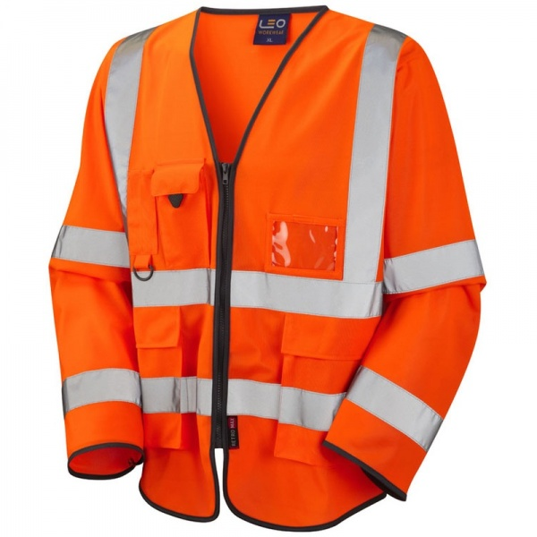 Leo Workwear S12-O Wrafton Hi Vis Class 3 Superior Sleeved Waistcoat Orange