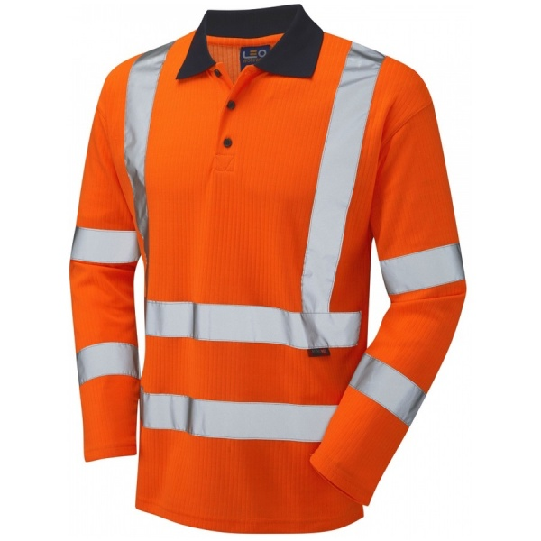 Leo Workwear P05-O Swimbridge Hi Vis Polo Shirt Long Sleeve Orange