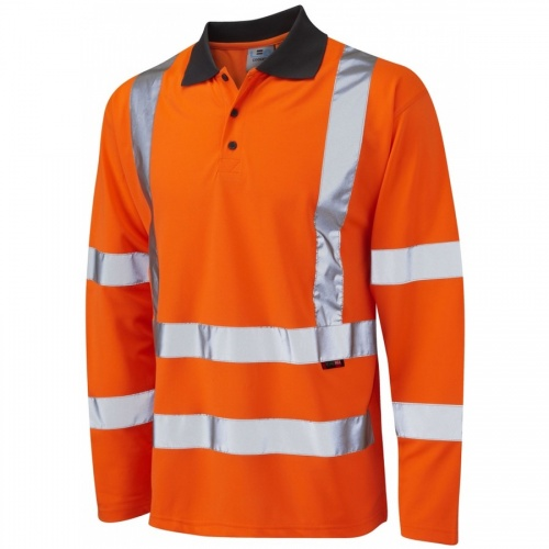 Leo Workwear P06-O Woolsery Hi Vis Polo Shirt Long Sleeve Orange Coolviz