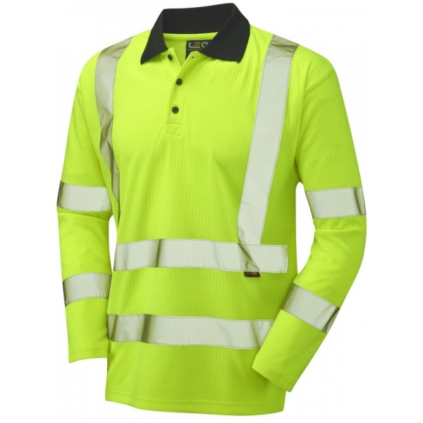 Leo Workwear P05-Y Swimbridge Hi Vis Polo Shirt Long Sleeve Yellow