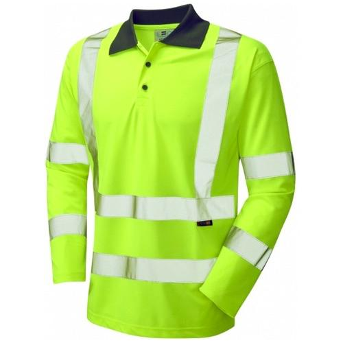 Leo Workwear P06-Y Woolsery Hi Vis Polo Shirt Long Sleeve Coolviz Yellow