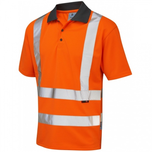Leo Workwear P02-O Rockham Coolviz Hi Vis Polo Shirt Orange