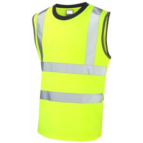 Leo Workwear V01-Y Hi Vis Shirt Muscle Top (Vest) Yellow