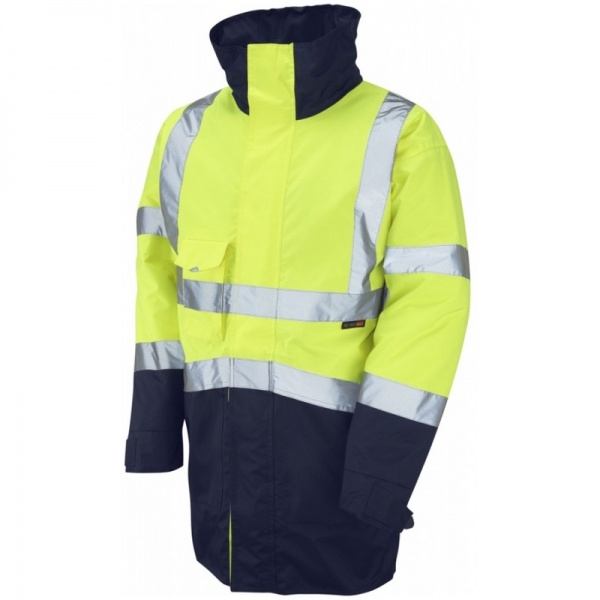 Leo Workwear A03-Y/NV Marwood Superior Hi Vis Jacket Two Tone Yellow / Navy