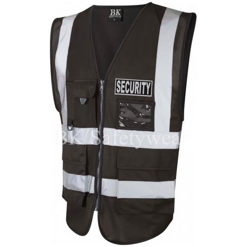 Black Security Reflective Badge on Black Hi Vis Superior Security Waistcoat