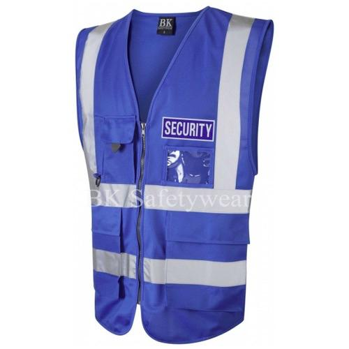 Blue Security Reflective Badge on Blue Hi Vis Superior Security Waistcoat