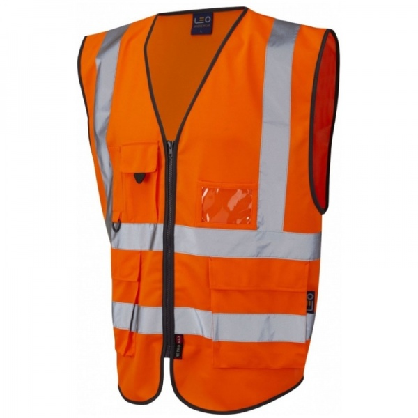 Leo Workwear W11-O Lynton Hi Vis Superior Vest Orange