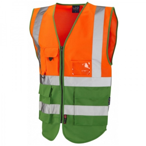 Leo Workwear W11-O/GN Lynton Hi Vis Superior Vest Orange / Green