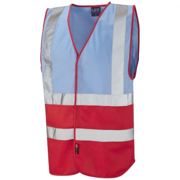 Leo Workwear W05-SK/RD Pilton Hi Viz Two Tone Vest Sky Blue / Red