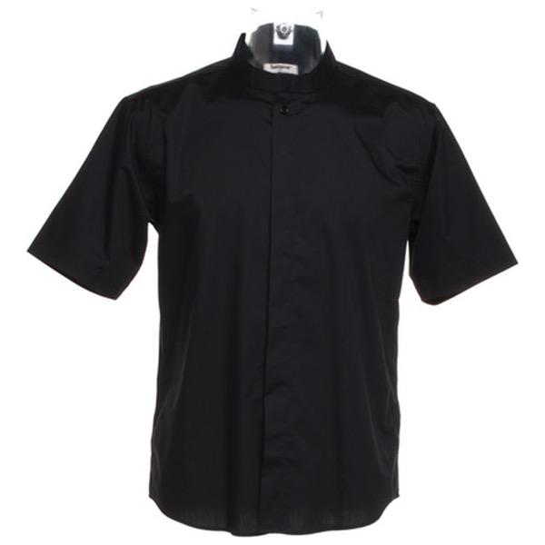 f1a378723 Kustom Kit KK122 Men's Bar Shirt Mandarin Collar Short Sleeved | BK ...
