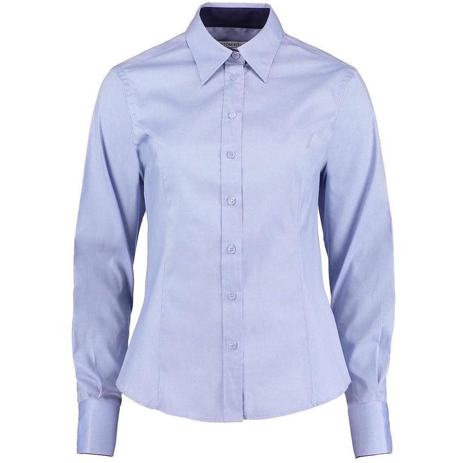 49fb9881e37 Kustom Kit KK789 Women s Contrast Premium Oxford Shirt Long Sleeve ...