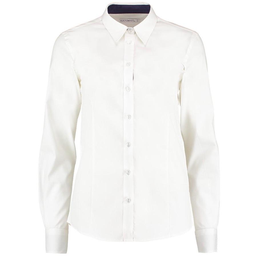 e4bd8a779b3 Kustom Kit KK790 Women s Contrast Premium Oxford Shirt Long Sleeve ...