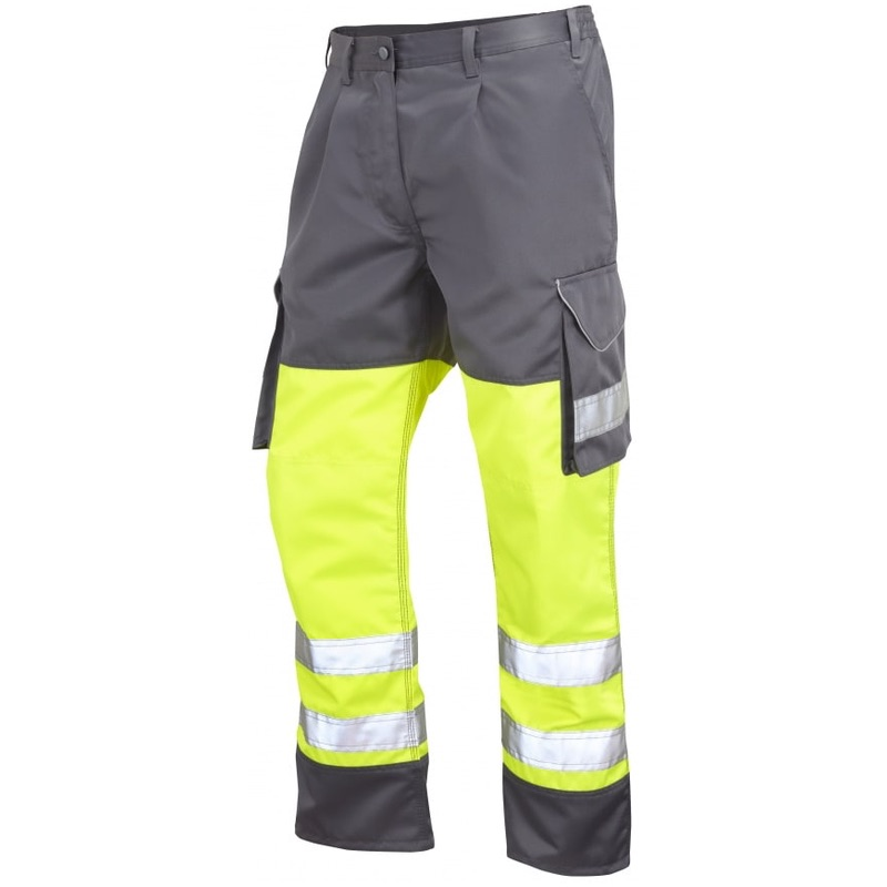 Leo Workwear CT01-Y/GY Hi Vis Superior Cargo Trousers Yellow / Grey