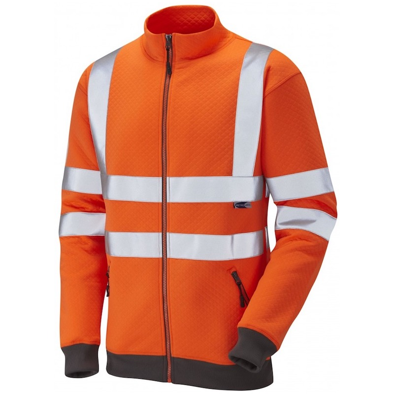68b71509 Leo Workwear SS03-O Libbaton Hi Vis Full Zip Track Top Sweatshirt Orange  ISO 20471