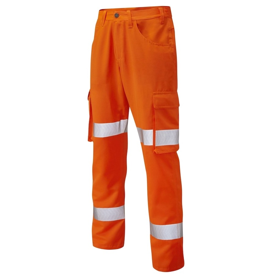 newest collection f4f04 4f4f2 Leo Workwear CT03-O Yelland Lightweight Cargo Orange Hi Vis Trouser