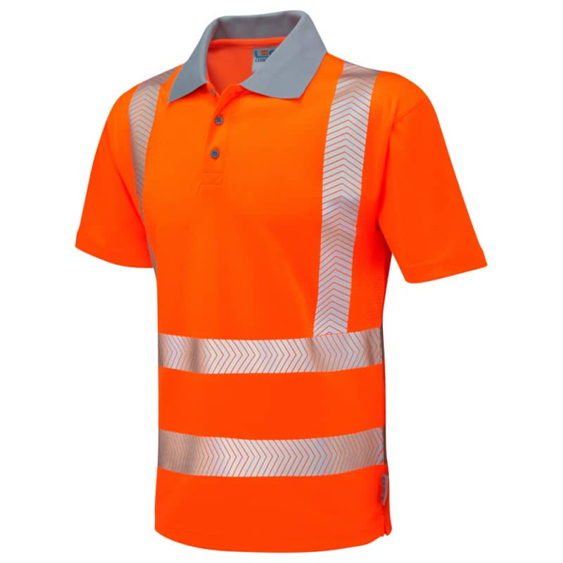 Leo Workwear P03-O Woolacombe Hi Vis Coolviz Plus Polo Shirt Orange