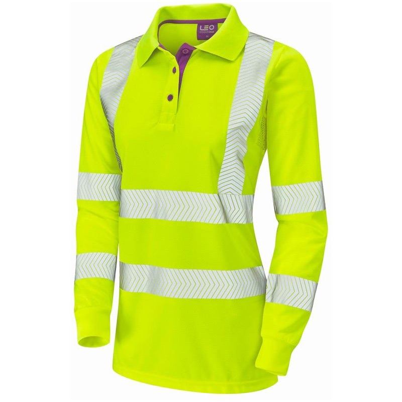 Leo Workwear PL08-Y POLLYFIELD ISO 20471 Class 2 Coolviz Plus Ladies Sleeved Polo Shirt Yellow