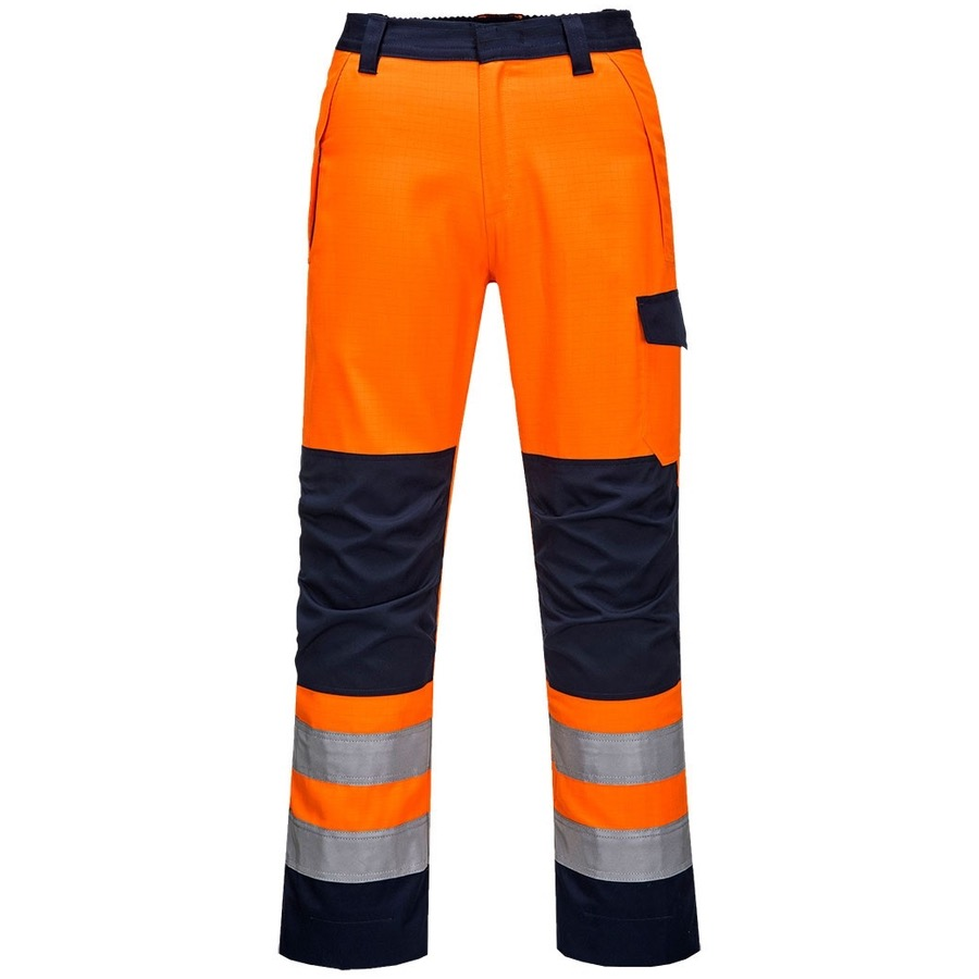 Portwest MV36 Hi Vis Orange / Navy MODAFLAME RIS Trousers