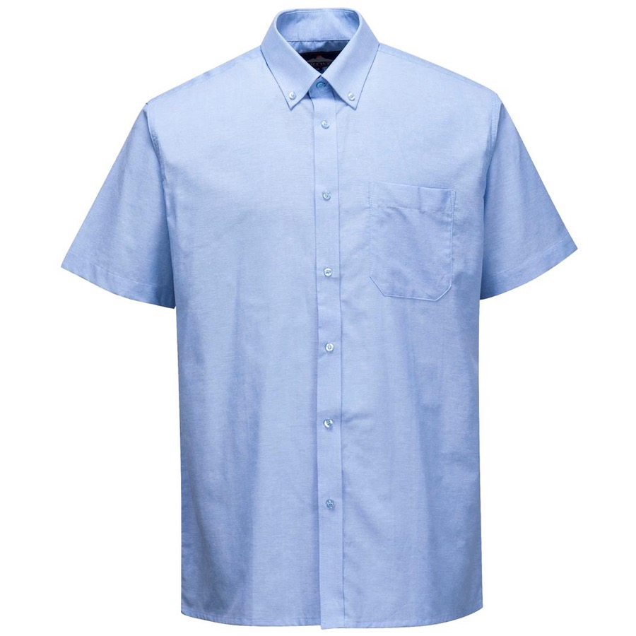 Portwest s108 mens oxford shirt short sleeve sky blue bk for Oxford shirt with tie