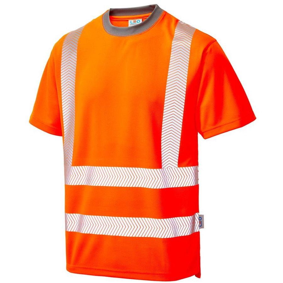 009fdad9cf168 Leo Workwear T03-O Larkstone Class 2 Coolviz Plus T-shirt Orange ...