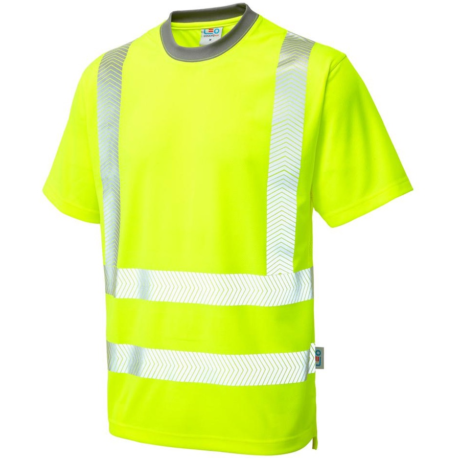 e78fd32ba0786 Leo Workwear T03-Y Larkstone Class 2 Coolviz Plus T-shirt Yellow ...