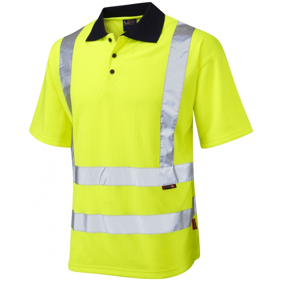 Leo workwear p01 y hi vis polo shirt yellow bk safetywear for Hi vis t shirt printing