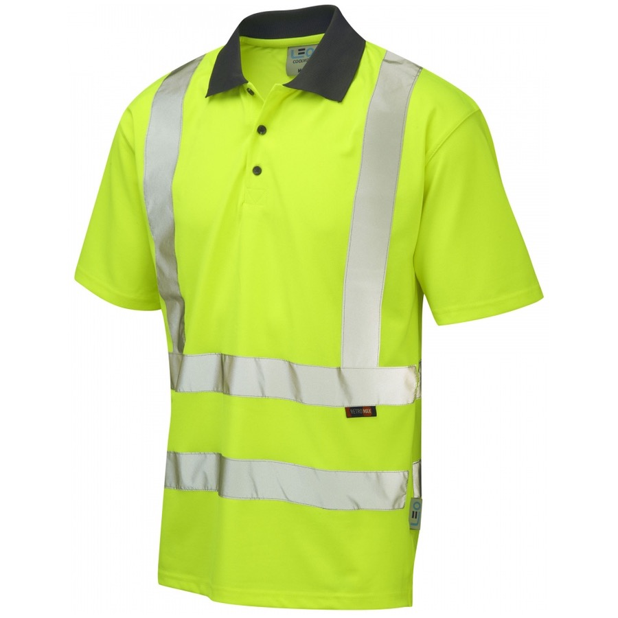 Leo workwear p02 y rockham hi vis polo shirt yellow for Hi vis t shirt printing