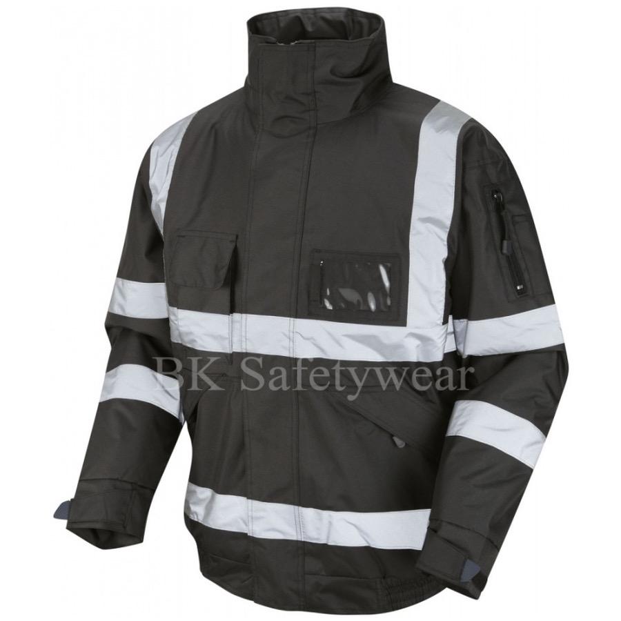 Hi Vis Superior Bomber Jacket Black Bk Safetywear
