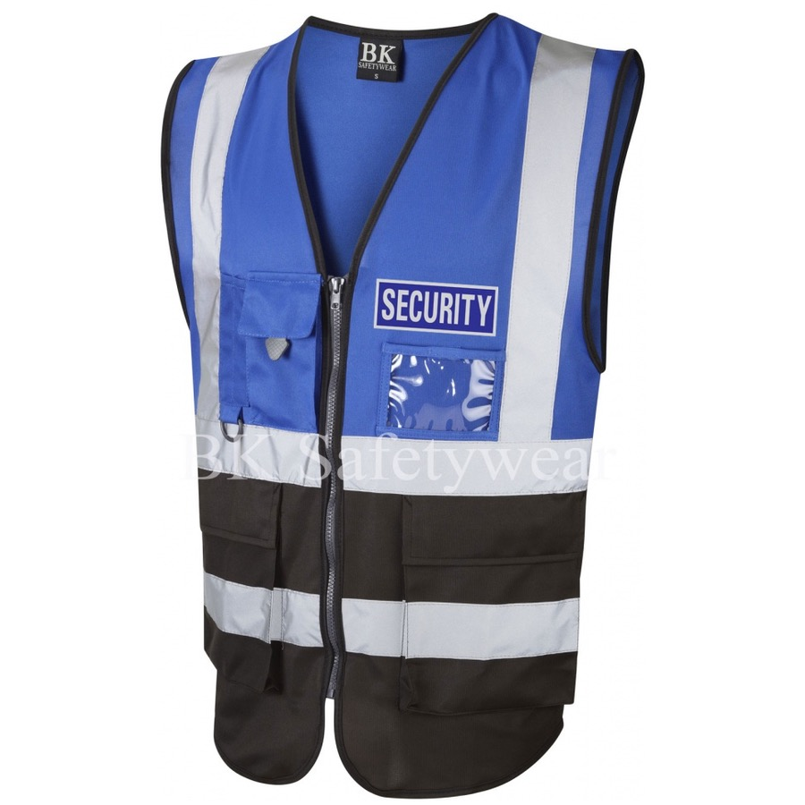 Blue Security Reflective Badge on Royal Blue and Black Hi Vis Superior Security Waistcoat
