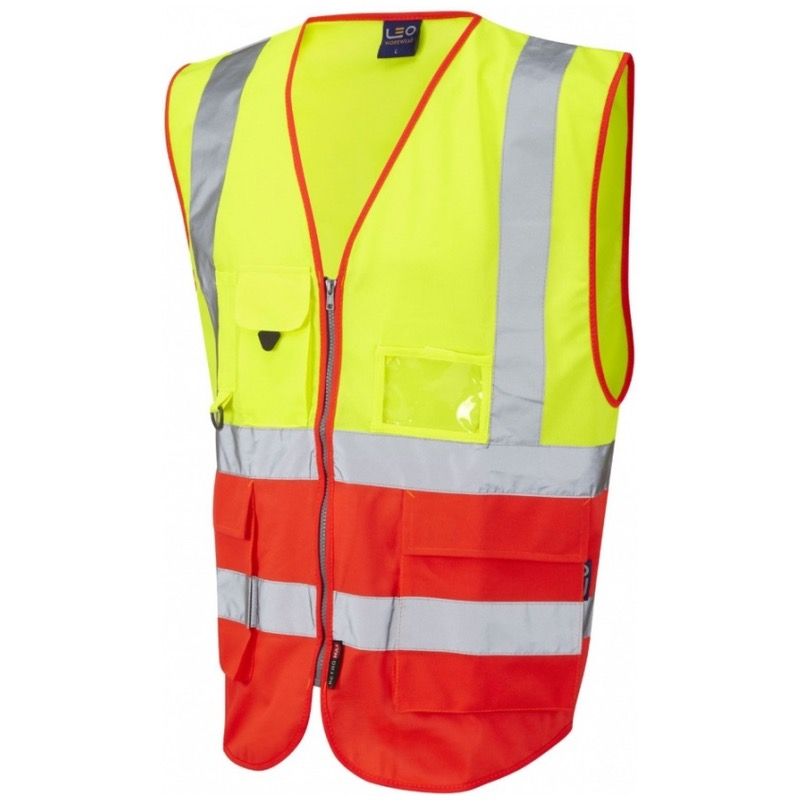 Leo Workwear W11-Y/R Lynton Hi Vis Superior Waistcoat Yellow / Flame Red