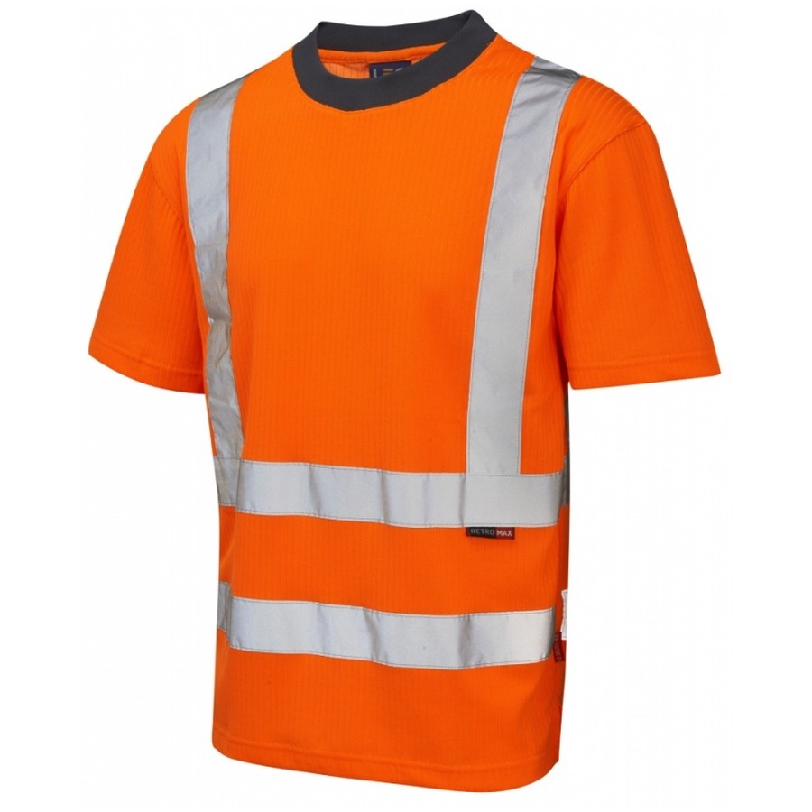 Leo workwear t01 o hi vis t shirt orange go rt bk safetywear for Hi vis t shirt printing