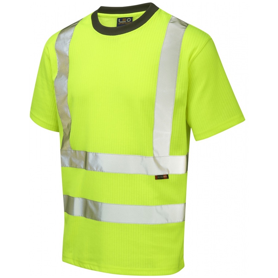 Leo workwear t01 y hi vis t shirt yellow bk safetywear for Hi vis t shirt printing