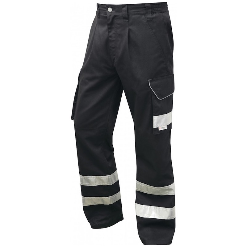 Leo Workwear CT02-BK Ilfracombe Cargo Workwear Black Hi Vis Trouser