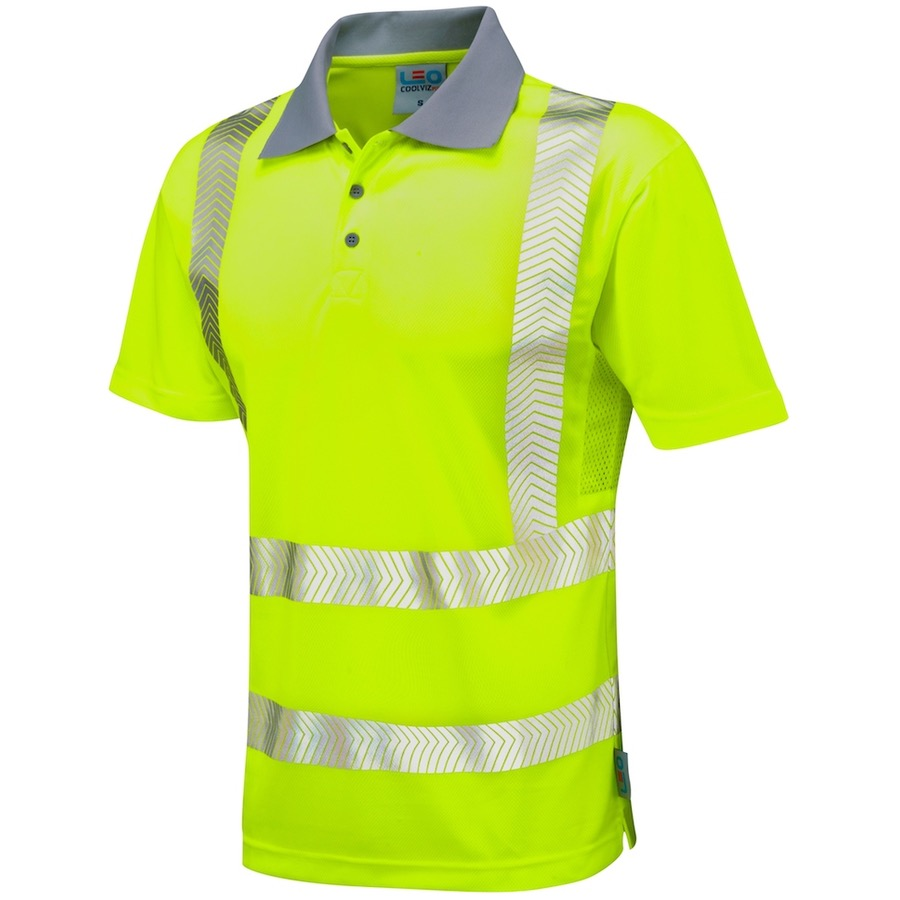 Leo workwear p03 y wollacombe hi vis coolviz plus polo for Hi vis shirts with reflective tape